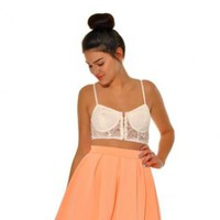 Peach High Waisted Pleated Skater Skirt
