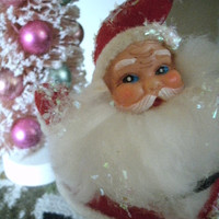 Retro Flocked Dancing Waving Santa Vintage Christmas Decoration