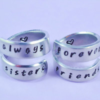 always sisters / forever friends- Spiral Rings Set, Hand Stamped, Handwritten Font, Shiny Aluminum Bracelets, Friendship, BFF