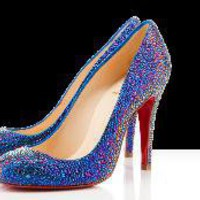 Christian Louboutin - samira strass, blue, pumps, evening, bridal, crystal, women's shoes