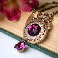 Victorian Crystal Necklace - Amethyst Swarovski Crystals on Antiqued Brass - Victorian Gothic Jewelry