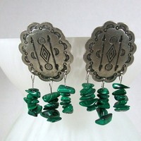 Southwest Style Earrings with Malachite Chip Beads