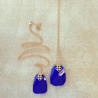 Pree Brulee - Royal Blue Quartz Stone Necklace