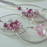 Pink Topaz Sterling Chandelier Earrings with by livjewellery