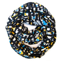 Abstract Infinity Scarf Eternity Endless Loop Scarf Navy Blue White Yellow Grey Aqua Blue Abstract Circle Scarf Women Teen Fashion Accessory