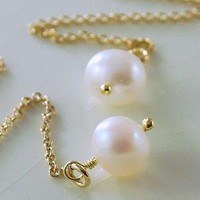Simple Pearl and Gold Threader Earrings by livjewellery on Etsy