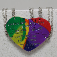 Puzzle Necklaces Set of 5 Heart Friends are like STARS Saying Rainbow Polymer Clay Jewelry