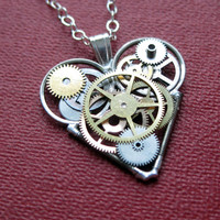 "Steampunk Heart Necklace ""Activate"" Elegant Industrial Heart Clockwork Necklace Mechanical Love Sculpture by A Mechanical Mind Gear Heart"