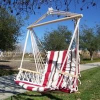 Petras Polycotton Padded Hammock Chair Swing, Red Elegant Stripe Color.