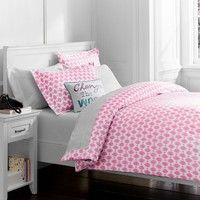 Ikat Dot Organic Duvet Cover + Pillowcases, Bright Pink