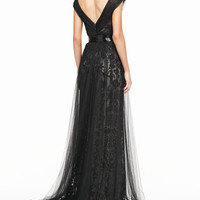 Monique Lhuillier Draped Tulle Lace Gown & Beaded Silk Belt