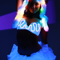 Glow Fur Hood with Rainbow LEDS - White Faux Fur Spirit Hood, color changing lights