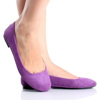 Purple Ballet Flats Casual Slip On Shoes Faux Suede Womens Slippers