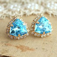 Aqua Blue Rhinestone Crystal stud earring bridesmaids gifts bridal earrings - 14k 1 micron Thick plated gold earrings real swarovski.