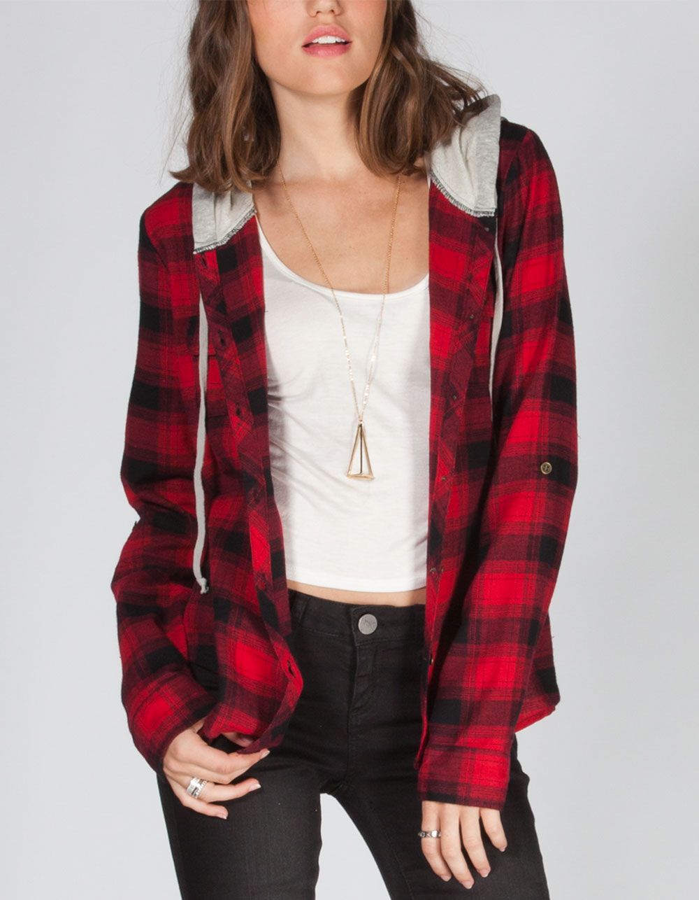 dolled up womens hooded flannel shirt from tilly 39 s