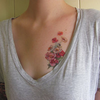 vintage poppies temporary tattoo by pepperink on Etsy