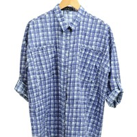 Blue Boyfriend Plaid Button Up Shirt  | $14.50 | Cheap Trendy Blouses Chic Discount Fashion for Wome