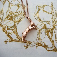 Gold Boxing Hare Necklace