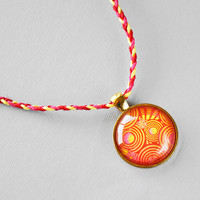 Abstract Circle Necklace: Red, Yellow, and Hot Pink Hemp, Abstract Pendant, Glass Cabochon