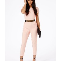 Missguided - Polly Belted Jumpsuit In Nude