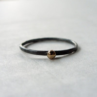 Little Drop of Gold - 12k Gold and Blackened Silver Stacking Ring