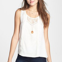 Band of Gypsies Lace Inset Tank (Juniors) | Nordstrom