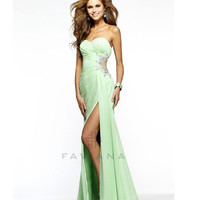(PRE-ORDER) Faviana 2014 Prom Dresses - Mint Ruched Chiffon & Mesh Cutout Prom Dress