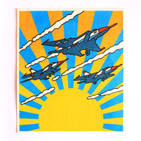 Jet Fighters print Soviet propaganda Vintage graphic art USSR 1980