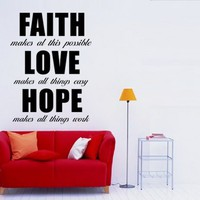 Faith Love Hope Sticker - Moon Wall Stickers