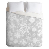 DENY Designs Home Accessories | Lisa Argyropoulos Snow Flurries in Gray Duvet Cover