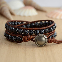 Double wrap bracelet. Snowflake obsidian beaded jewelry