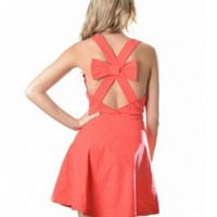 Red Bow Back Sleeveless Dress