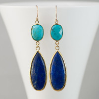 Lapis Lazuli Earrings - Turquoise earrings - Gemstone earrings - Gold drop earrings - Dangle Earrings