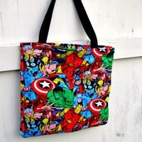 Marvel Comic bag TOTE Purse Captain America Thor retro Avengers
