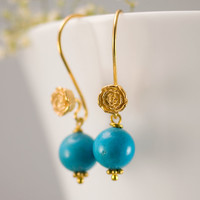 December Birthstone Earrings - Turquoise Earrings - Gold Earrings - Flower Earrings