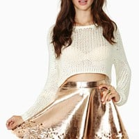 Reverse Metal Petal Faux Leather Skater Skirt