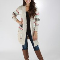 Oversized Tribal Printed Cardigan