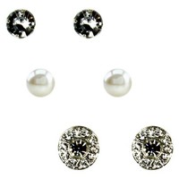 3 Piece Variety Stud Earrings Set - Clear/Black/Silver