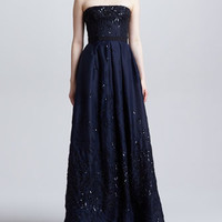 J. MENDEL = Sequined Strapless Organza Ball Gown, Nacy