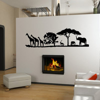 Vinyl Wall Decal African Savannah Animals and Trees Giraffes Elephants Vinyl Wall Decal 22346