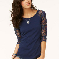 Lace Sleeve Baseball Long-Sleeve