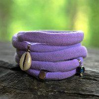On the Breeze - Magic Color Change Material, Cowry Shell Wrist Wrap Bracelet