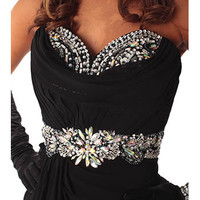 Strapless Black Chiffon Draped Sweetheart Bodice Evening Gown - old hollywood glamour gowns