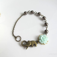 Wild forest Mint Green Rose bud, Brown Swarovski Pearl, Rustic Elephant Clasp Good Luck Antiqued Brass Bracelet. Everyday wear. Simple Gift
