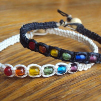 Rainbow Bracelet Hemp Jewelry Rainbow Beaded Hemp Bracelet LGBT Bracelet