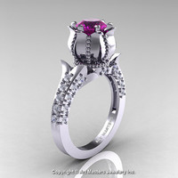 Classic 14K White Gold 1.0 Ct Amethyst Diamond Solitaire Wedding Ring R410-14KWGDAM