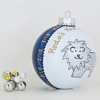 New Baby ornament - Hand painted personalized glass ball - Adorable lion