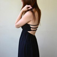 Black Strapless Open Triple Strap Back Dress