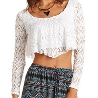 LONG-SLEEVE FLUTTER CROP TOP