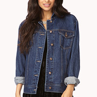 Street-Femme Distressed Denim Jacket